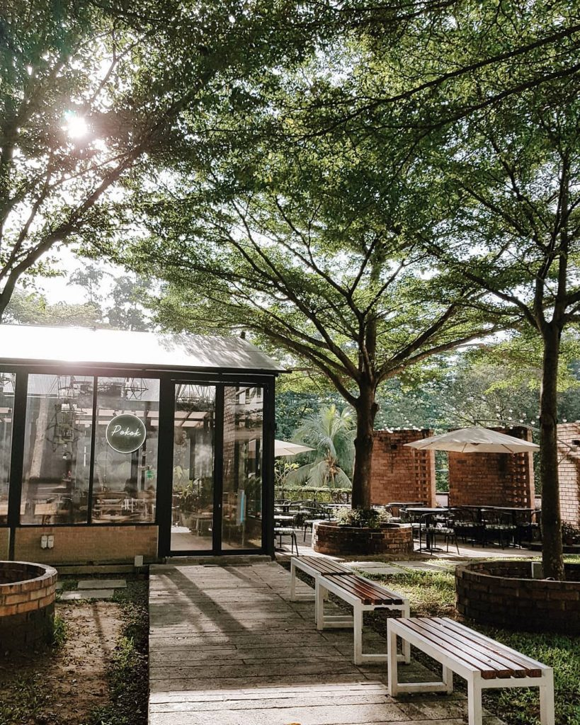 Cafe built like glass house surrounded by shade trees